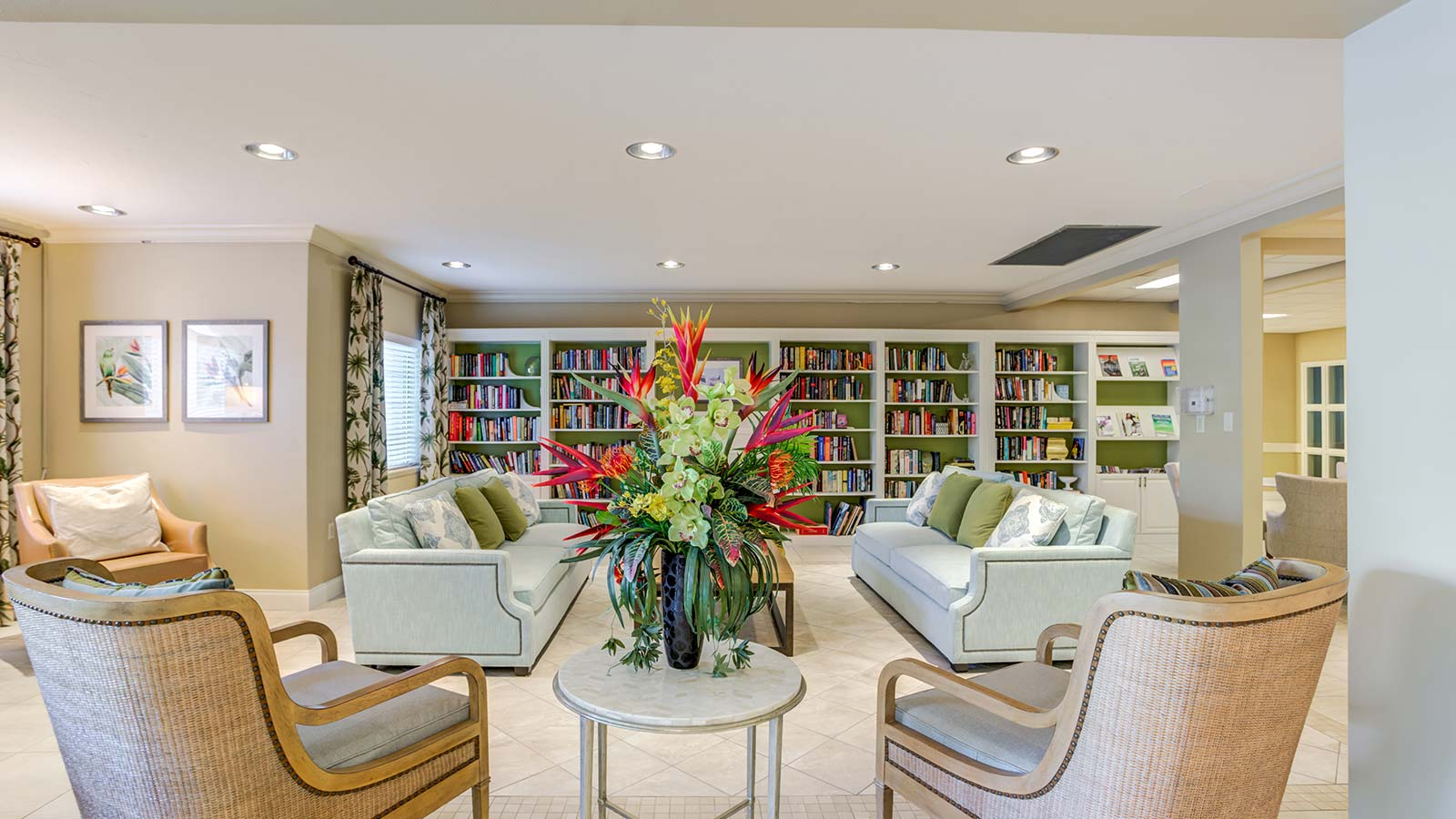 Library at at Heron Club assisted living and memory care in Sarasota Florida