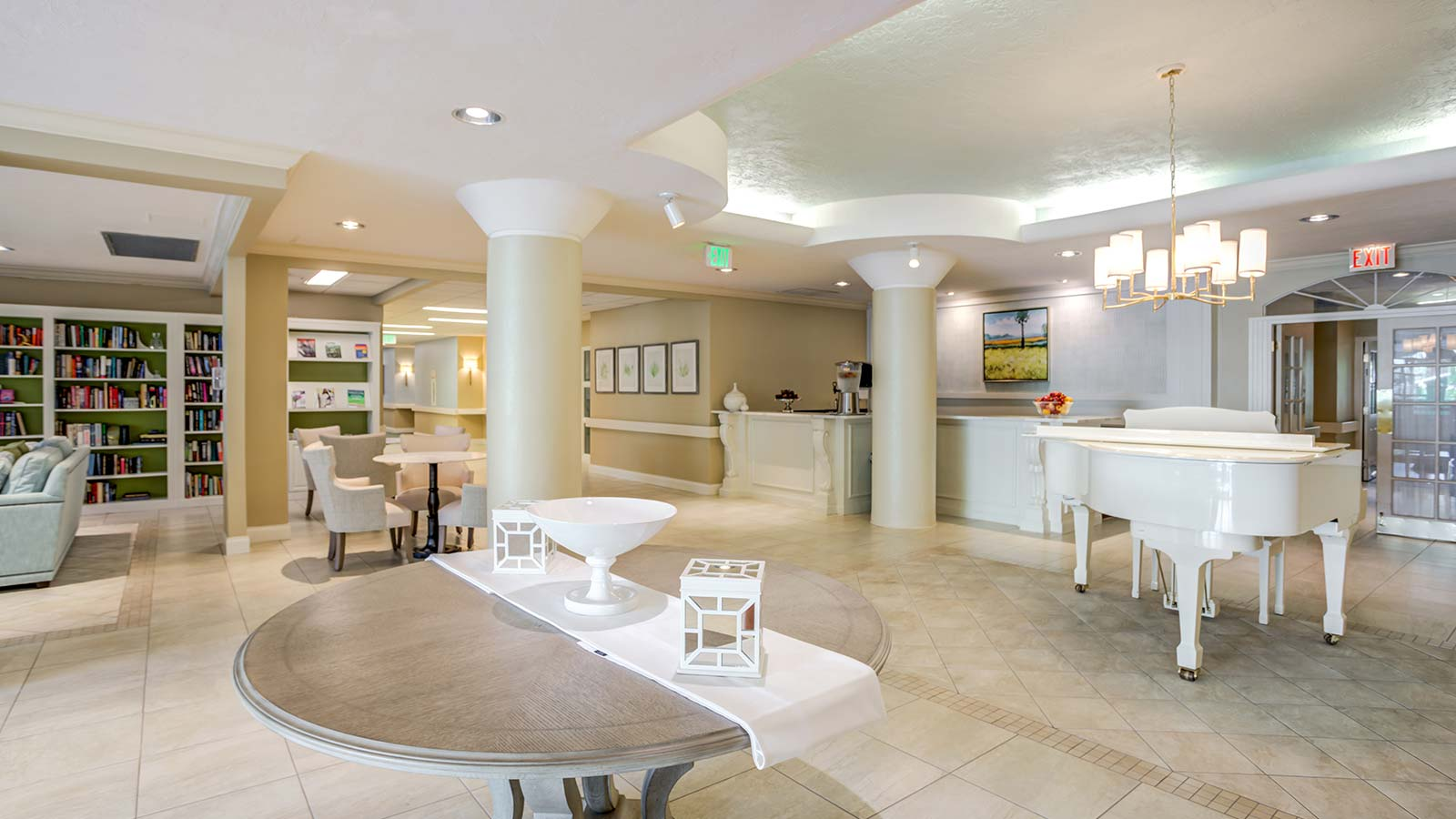 Lobby with grand piano at Heron Club assisted living and memory care in Sarasota Florida