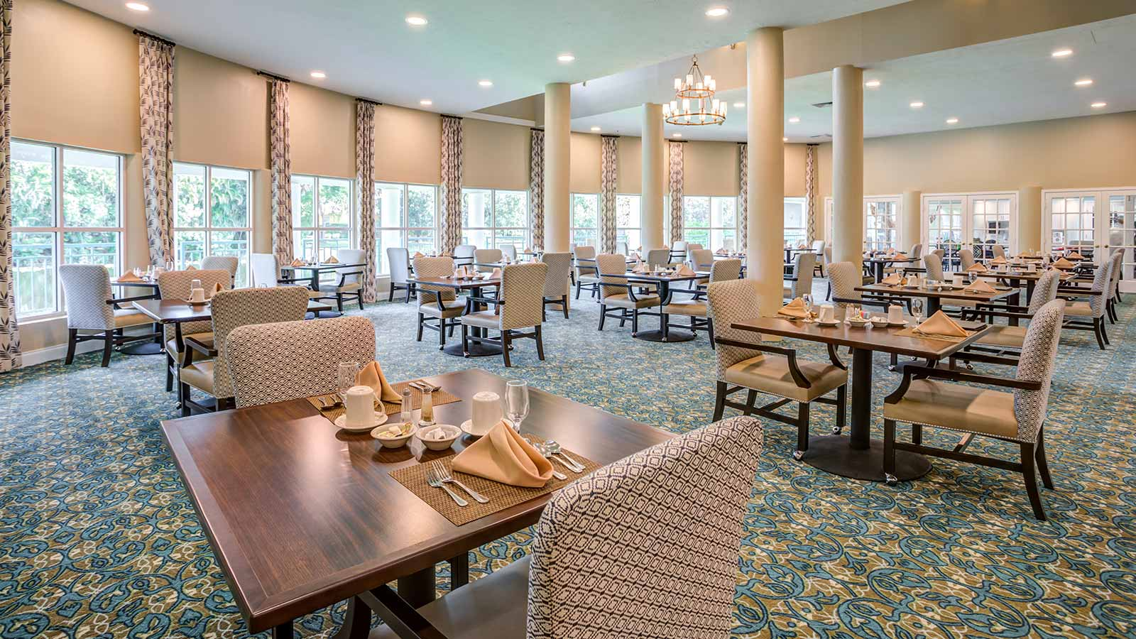 View of restaurant-style dining room at Heron Club at Prestancia an assisted living and memory care community in Sarasota FL