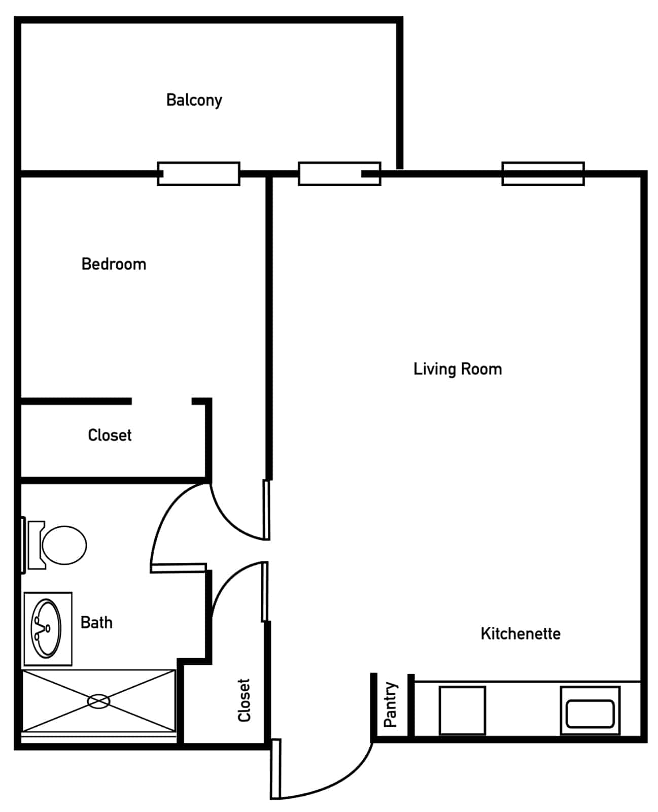 The Meadow One Bedroom One Bath With Balcony Floor Plan