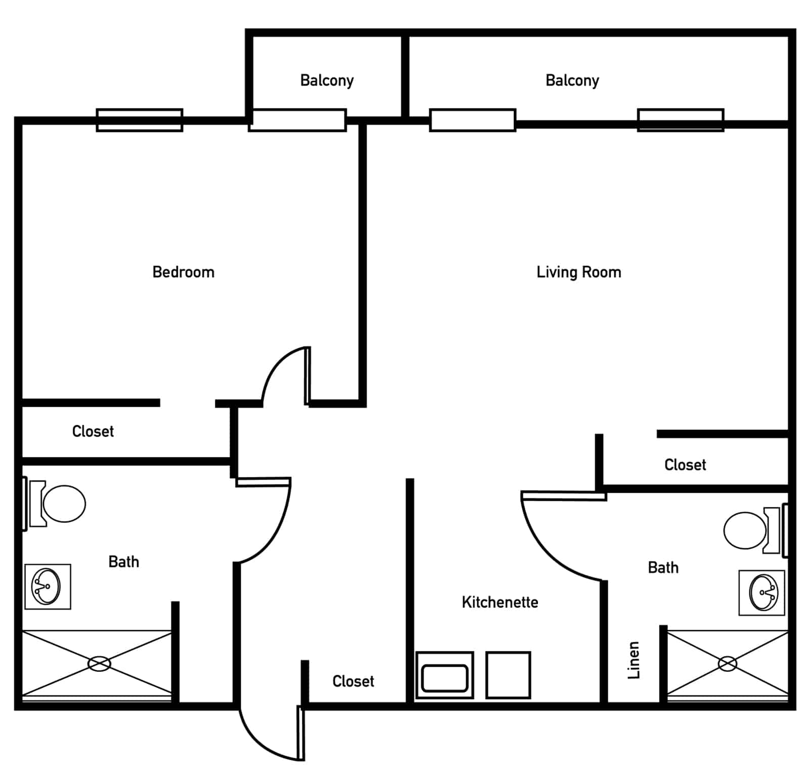 The Palmer One Bedroom Deluxe Floor Plan