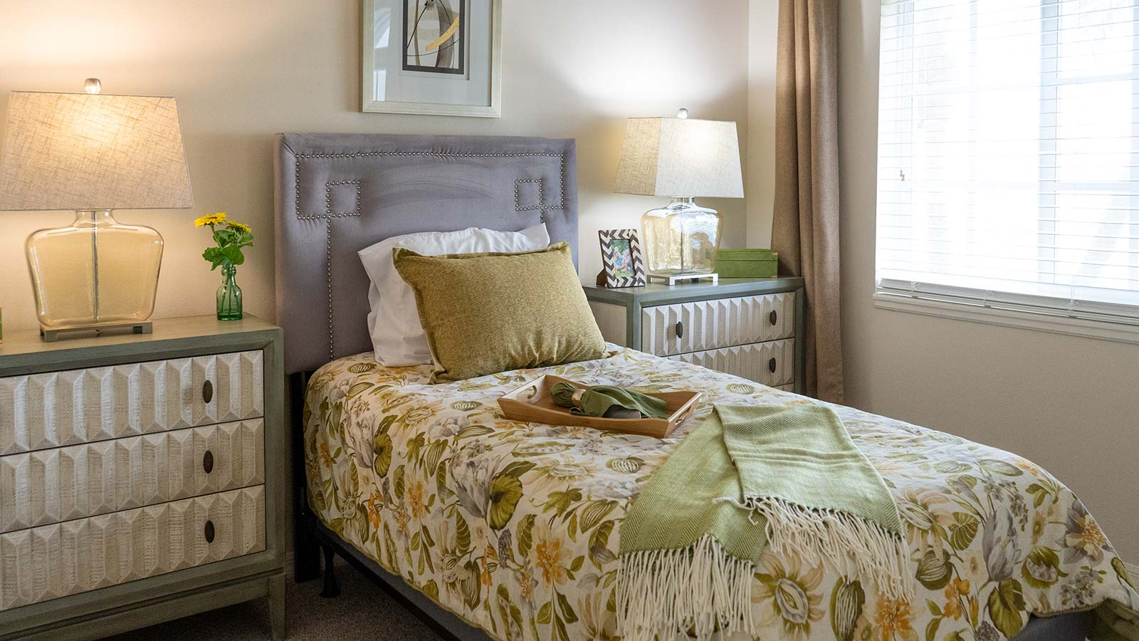 Model apartment bedroom at Heron Club assisted living and memory care in Sarasota Florida