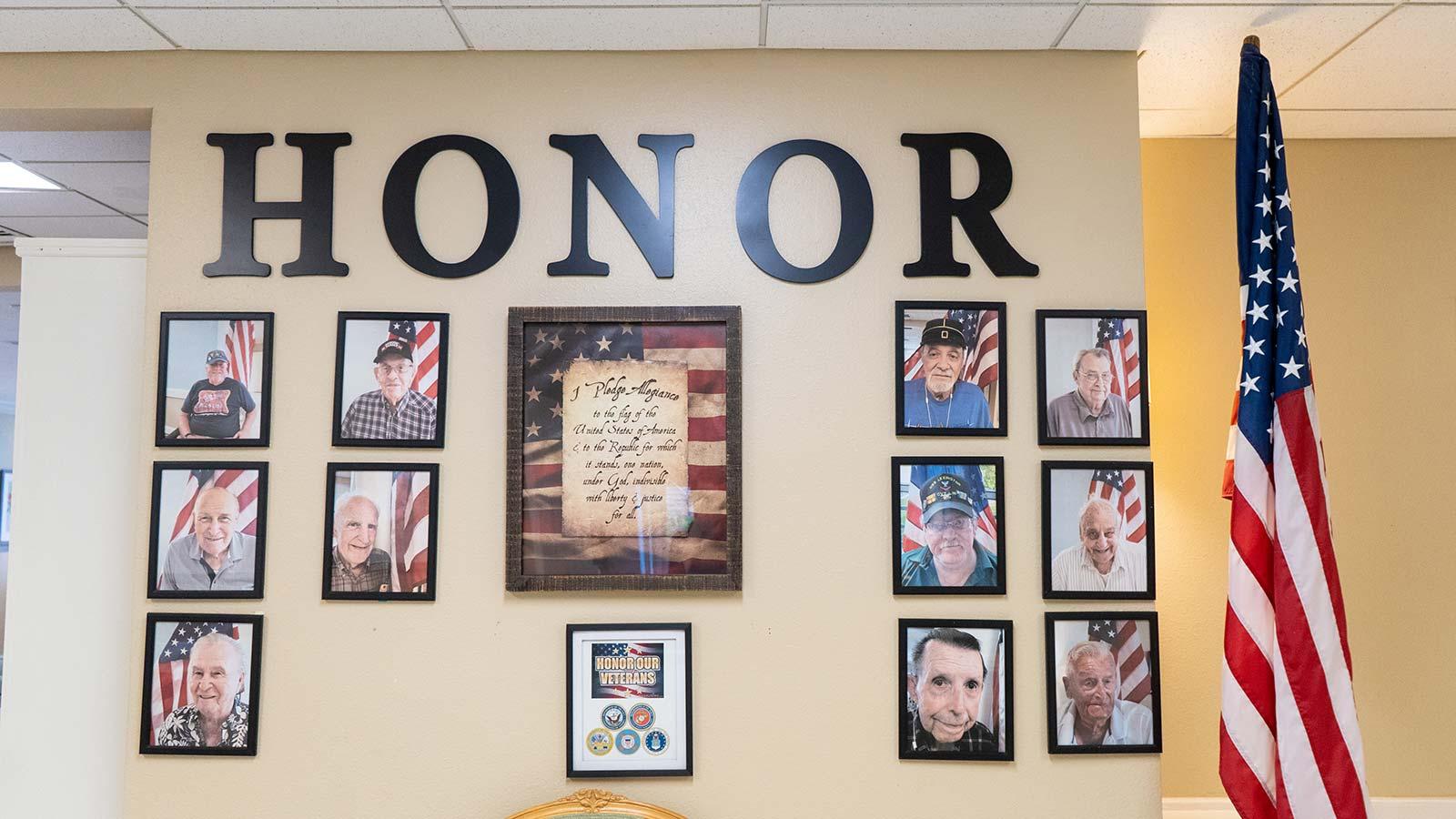 Veterans wall at Heron Club assisted living and memory care in Sarasota Florida